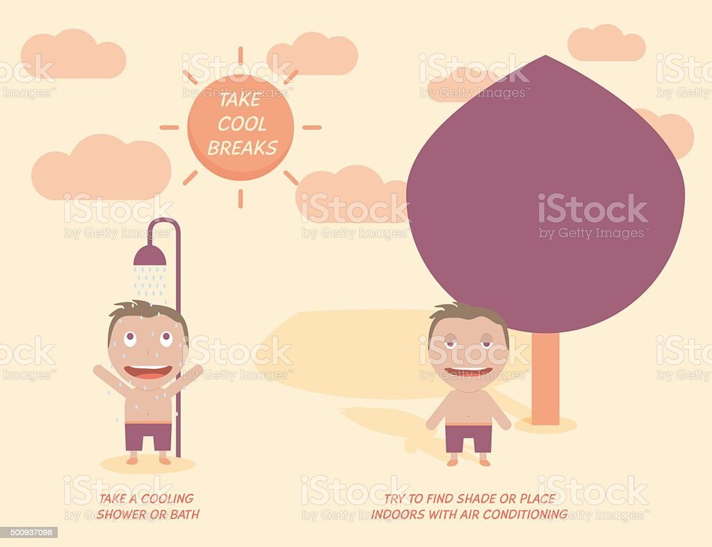 Heat stroke prevention. Health care concept vector art illustration