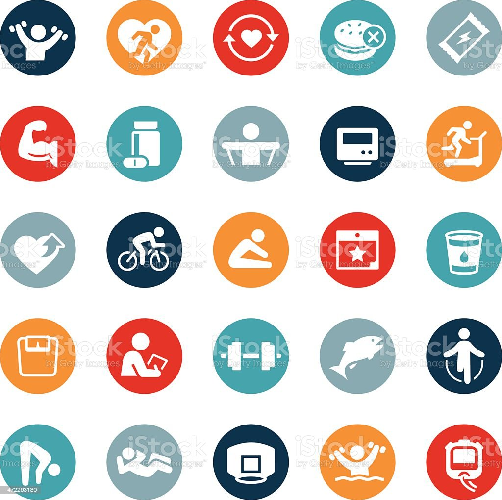 Heath and Fitness Icons vector art illustration