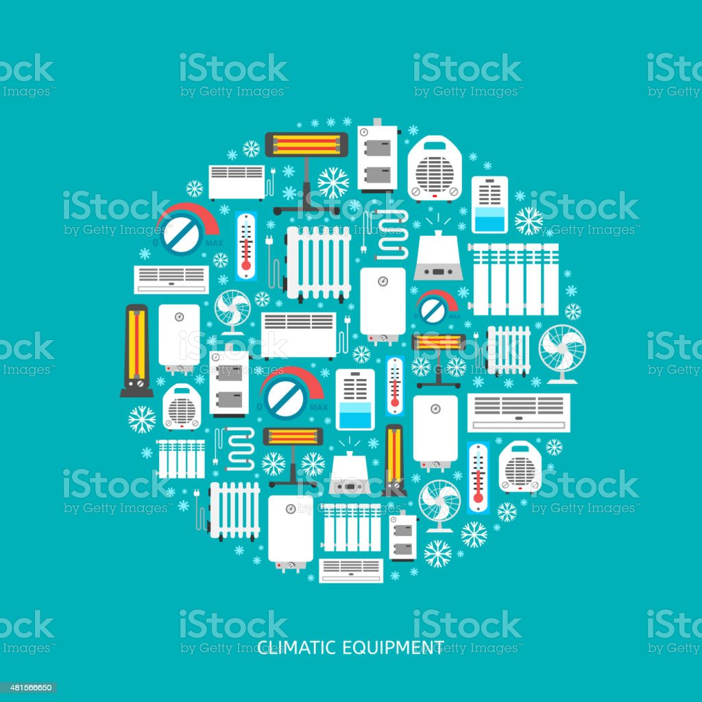 Heating and conditioning icons set. vector art illustration