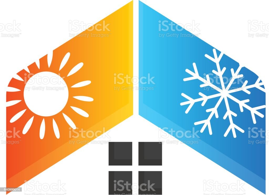Heating and cooling house vector art illustration