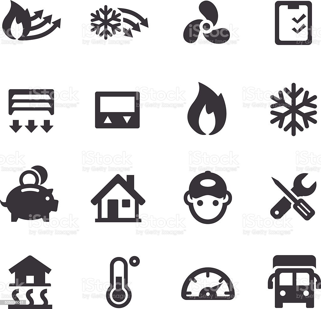 Heating and Cooling Icons - Acme Series vector art illustration