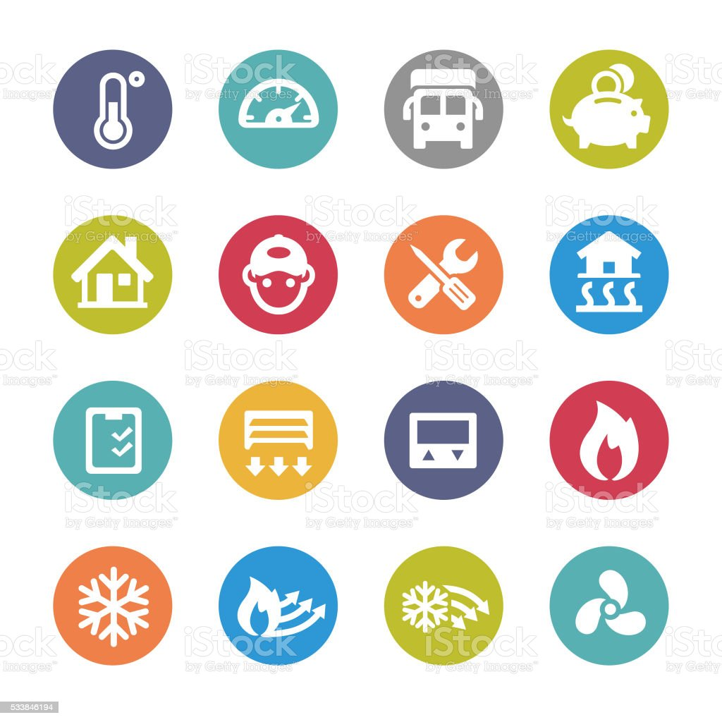 Heating and Cooling Icons - Circle Series vector art illustration
