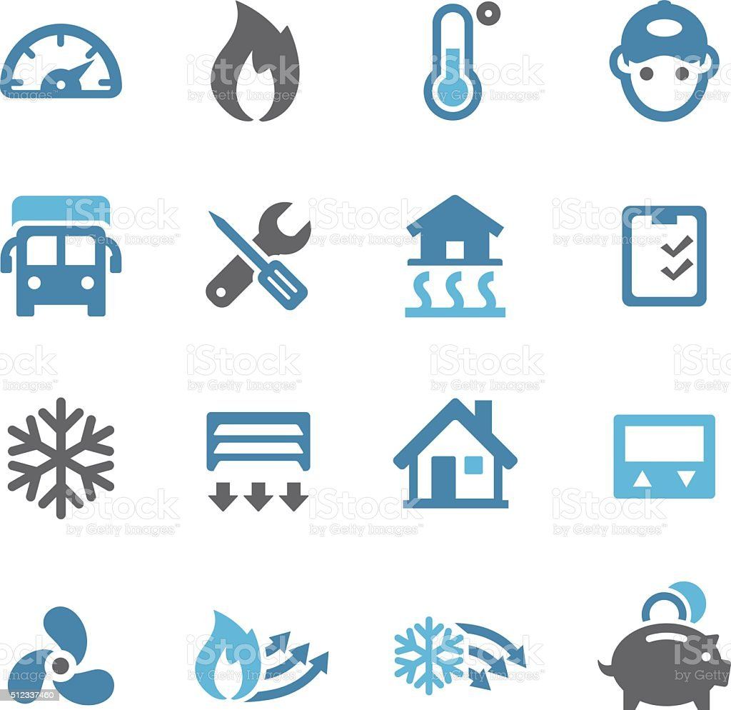 Heating and Cooling Icons - Conc Series vector art illustration