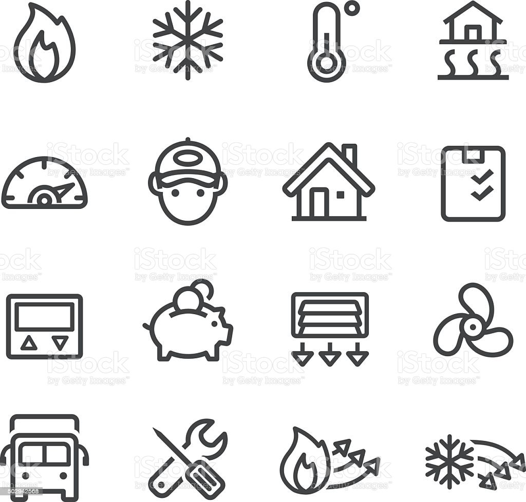 Heating and Cooling Icons - Line Series vector art illustration
