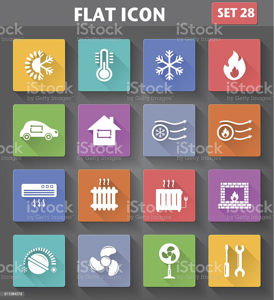 Heating and Cooling Icons set in flat style vector art illustration
