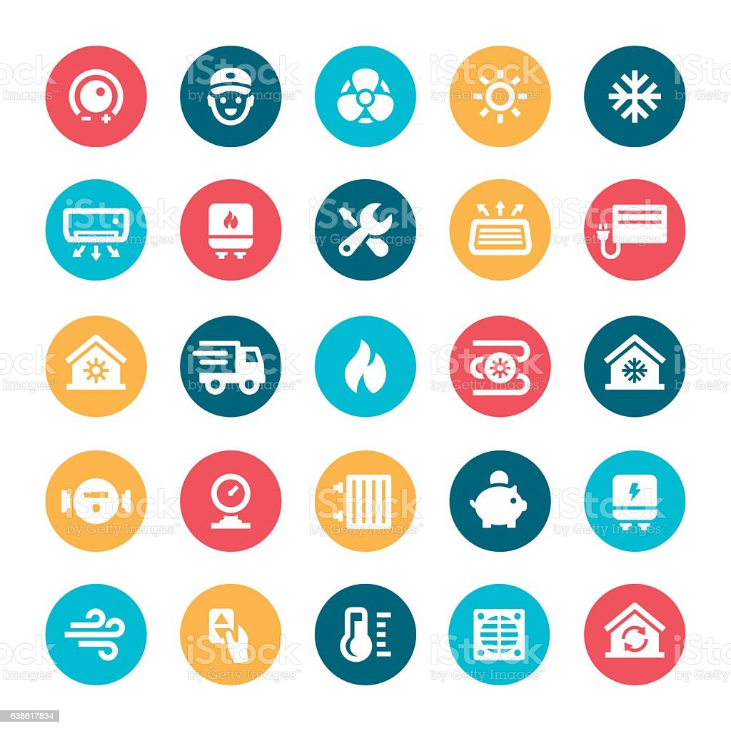 Heating and Cooling Icons vector art illustration