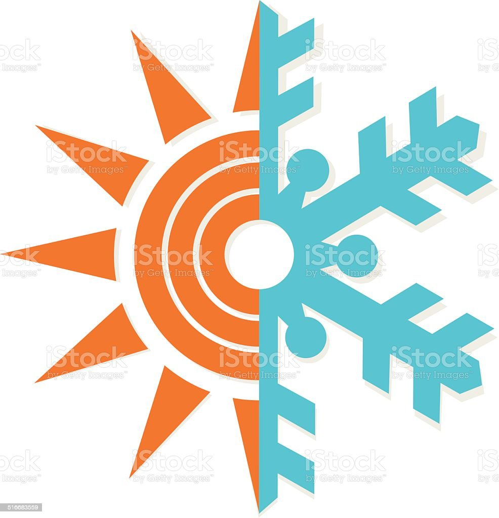 Heating and Cooling Symbol vector art illustration