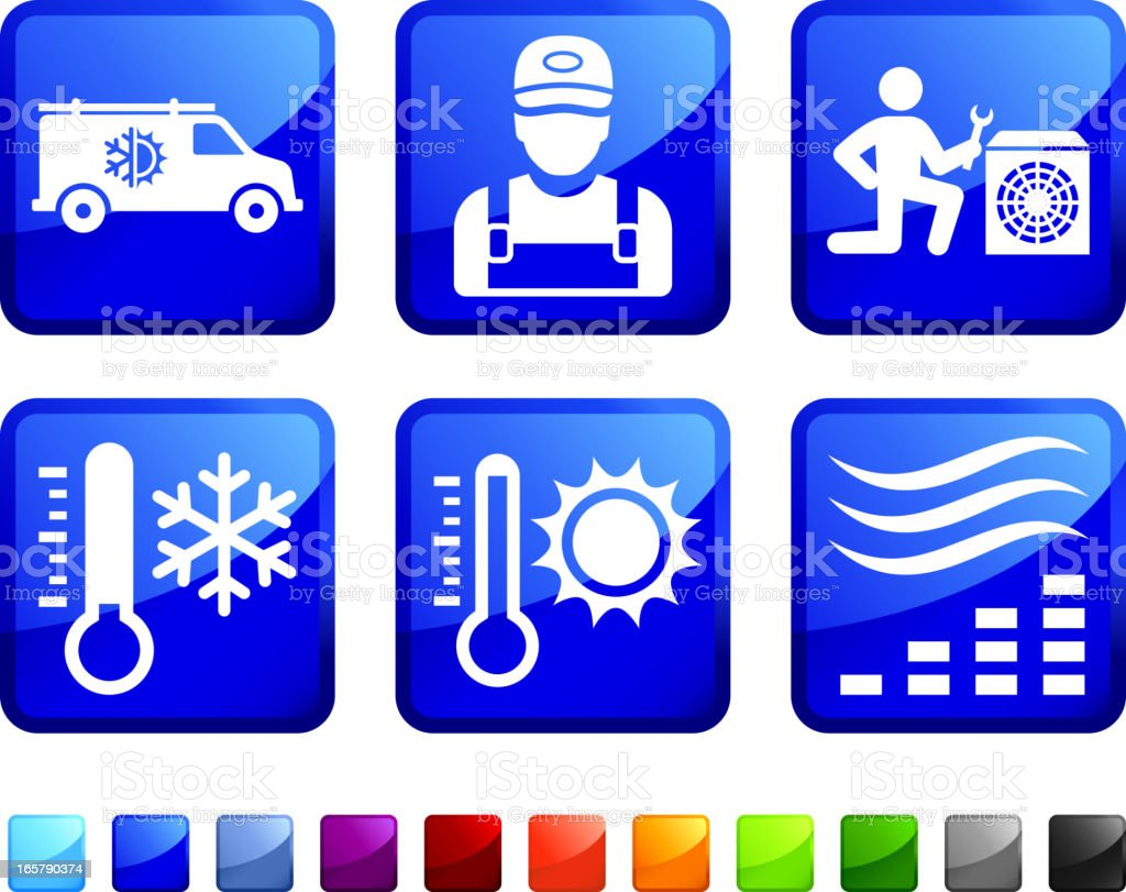 Heating and Cooling System Repair vector icon set stickers vector art illustration