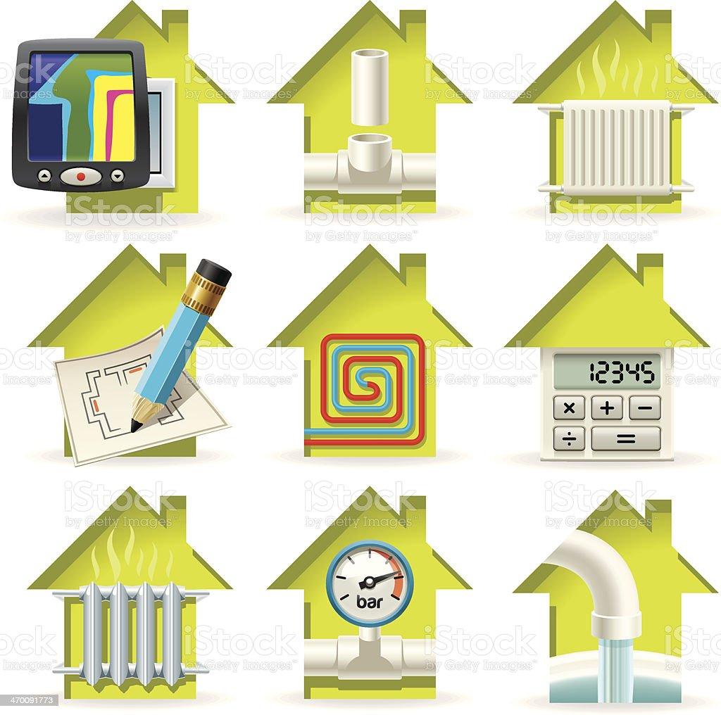 Heating Home Icons vector art illustration
