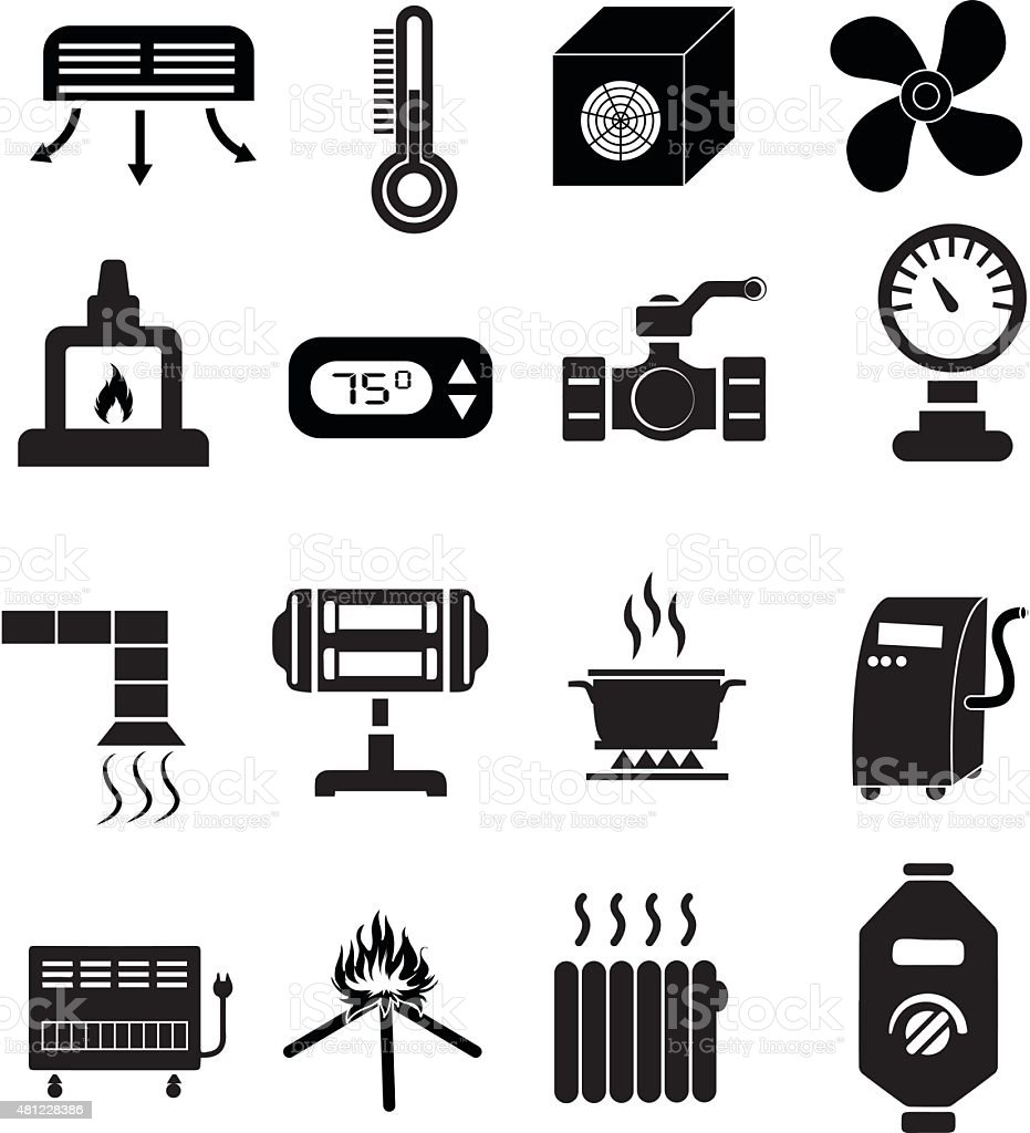 Heating icons set vector art illustration