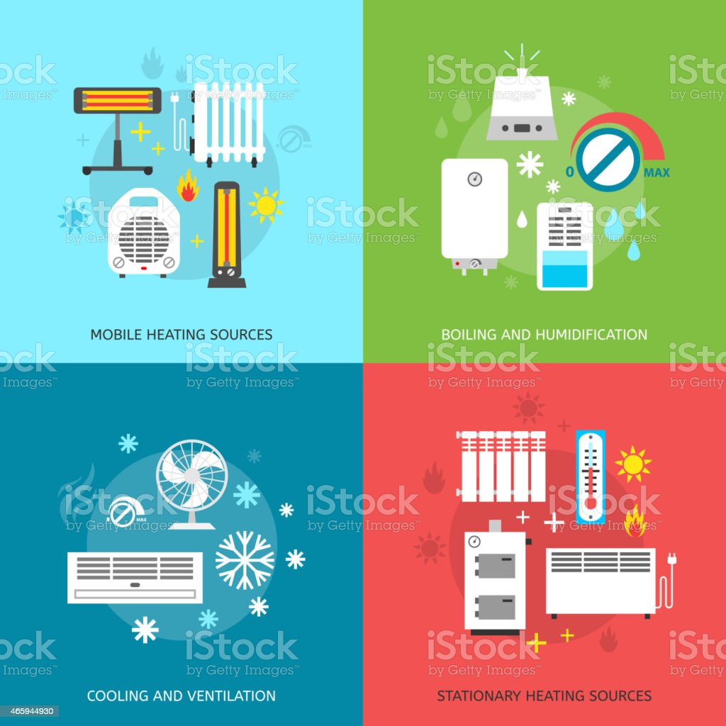 Heatingand conditioning icons set. vector art illustration