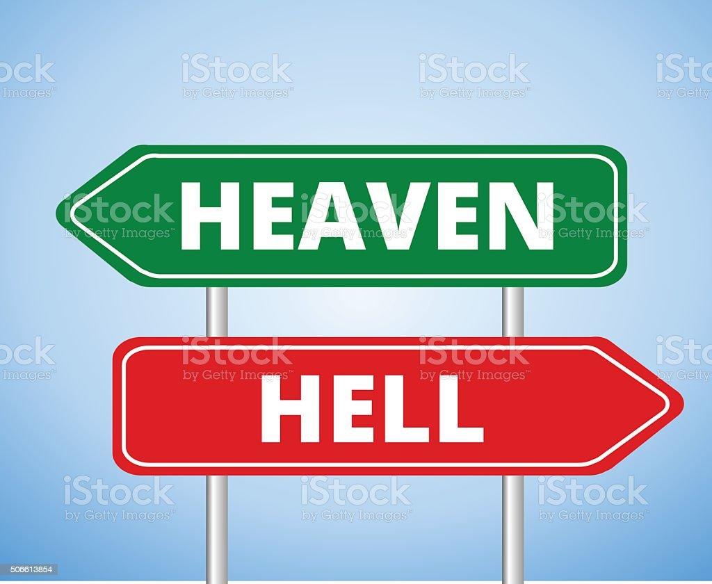 Heaven vs Hell vector art illustration
