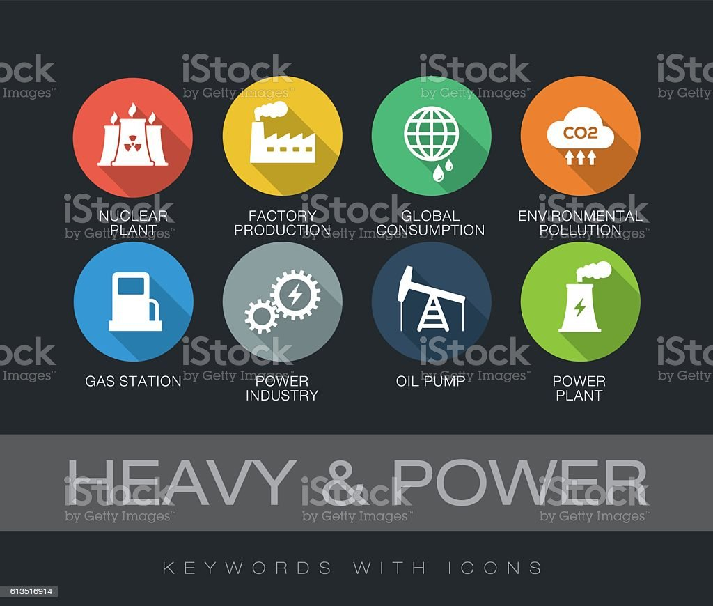 Heavy and Power keywords with icons vector art illustration