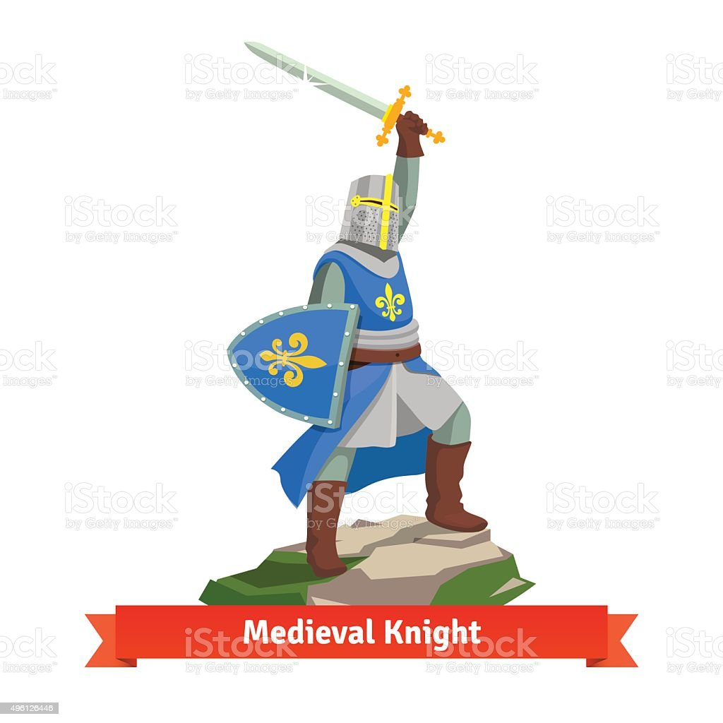 Heavy armoured french medieval knight vector art illustration