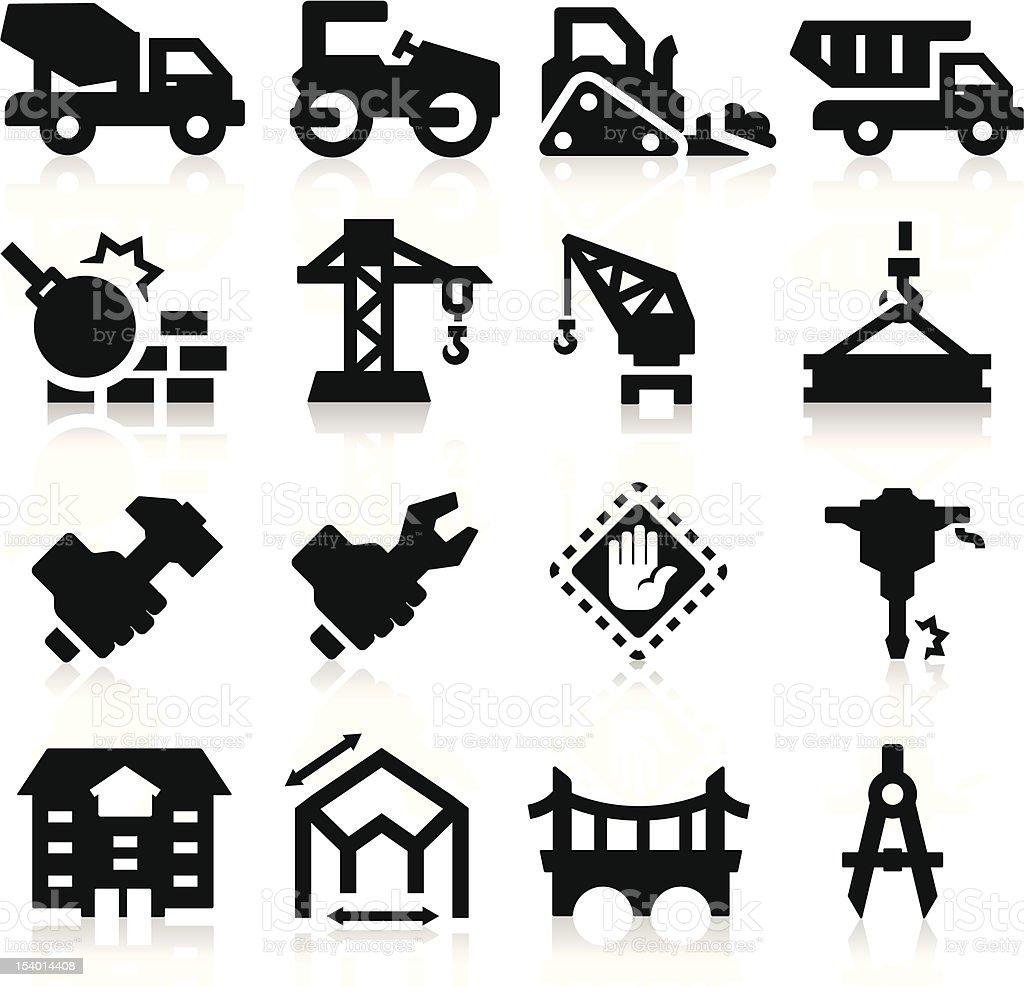 Heavy construction icons vector art illustration