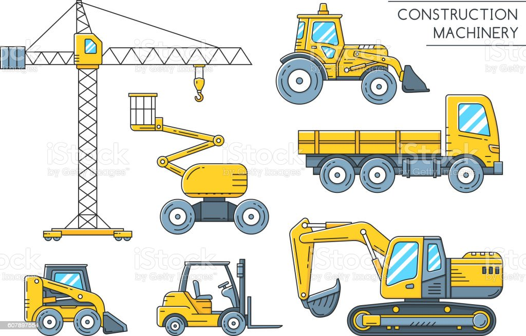 Heavy construction machinery transport outline icons vector art illustration