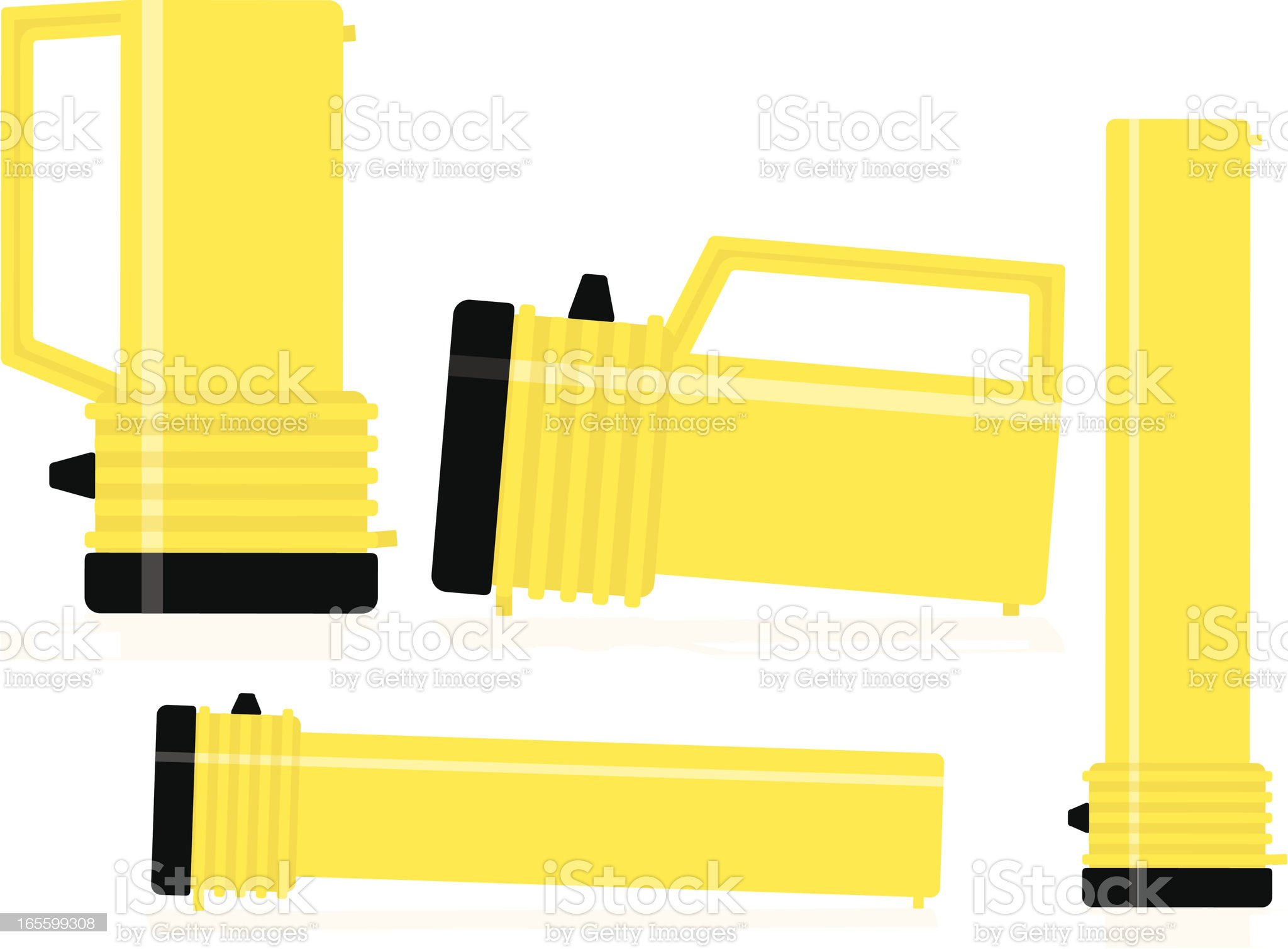 Heavy Duty and Regular Flashlights in Various Positions royalty-free stock vector art