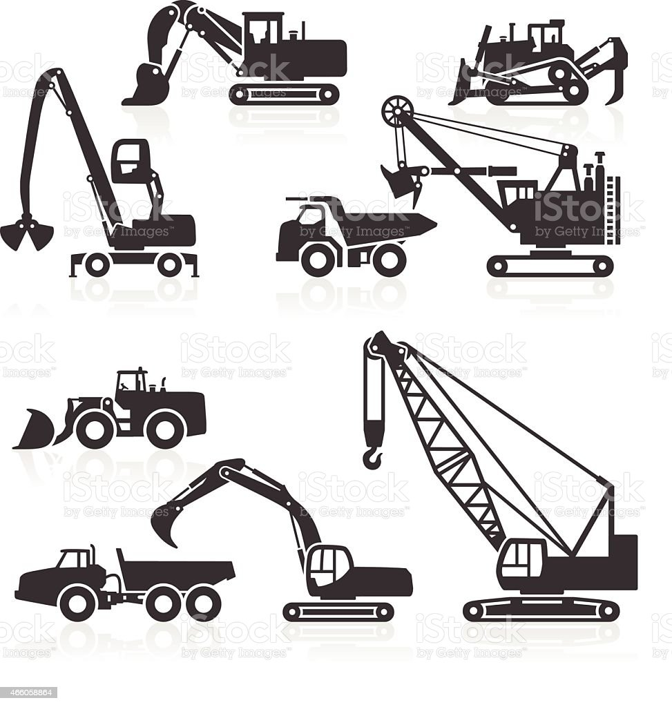 Heavy duty construction vehicles icons vector art illustration