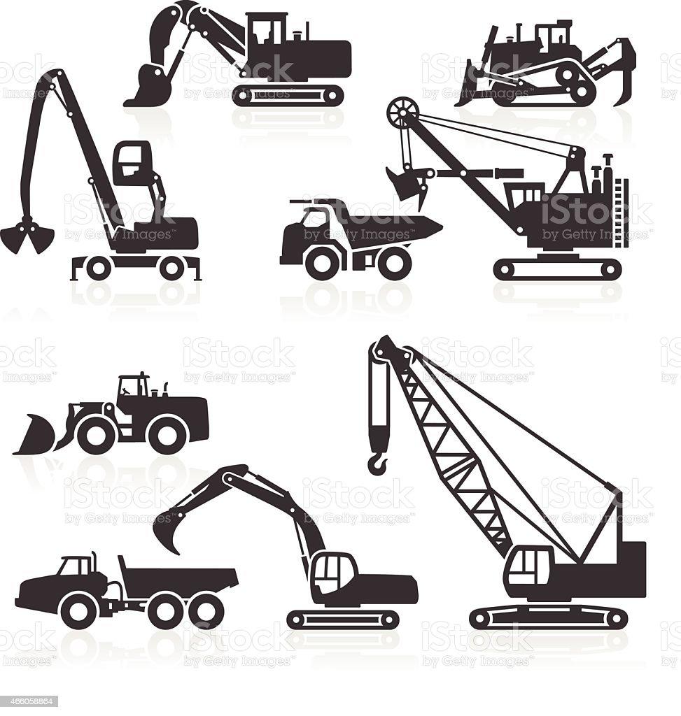 Heavy duty construction vehicles icons vector art illustration