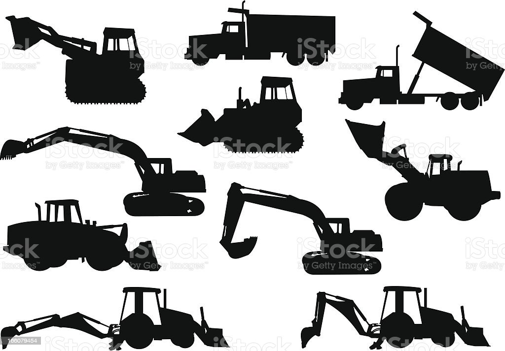 Heavy Equipment Silhouettes royalty-free stock vector art