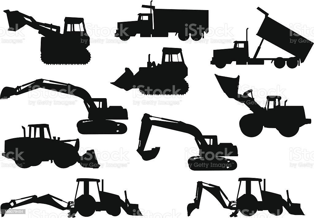 Heavy Equipment Silhouettes vector art illustration