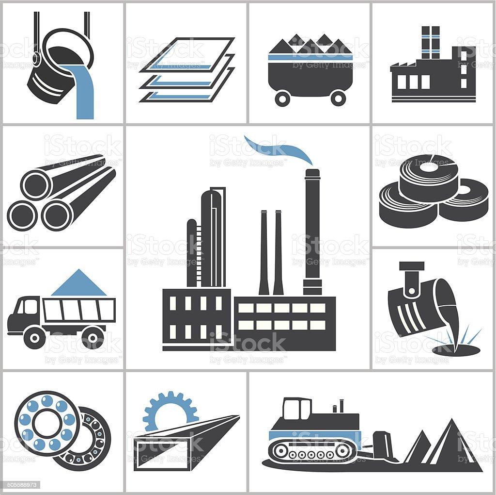 Heavy industry icons vector art illustration