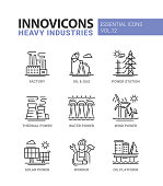 Heavy industry line design icons set