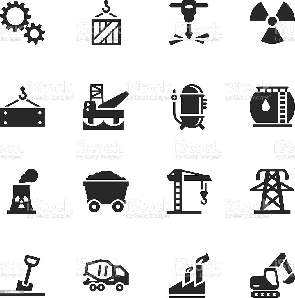 Heavy Industry Silhouette Icons vector art illustration