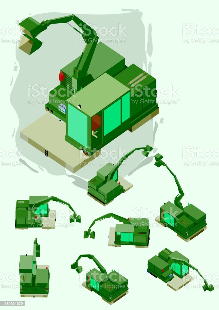 heavy machine isometric. crawler with several position vector art illustration