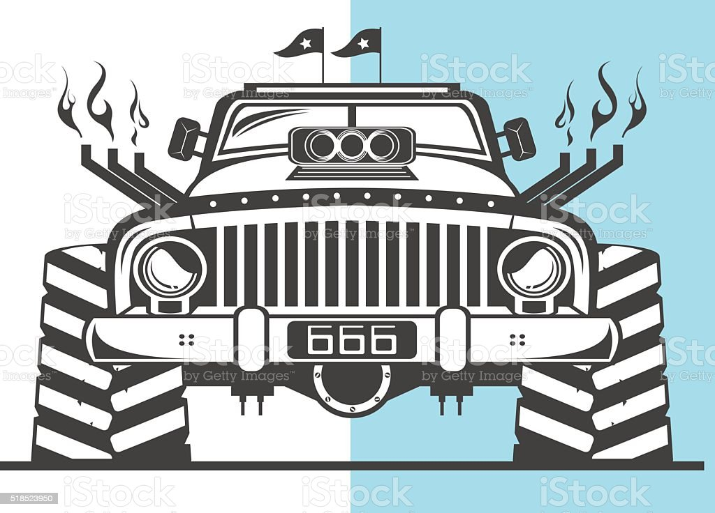 Heavy off road truck vector art illustration
