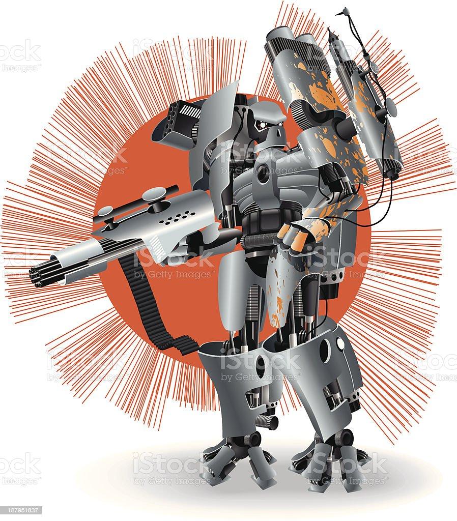 Heavy Robot Fighter vector art illustration