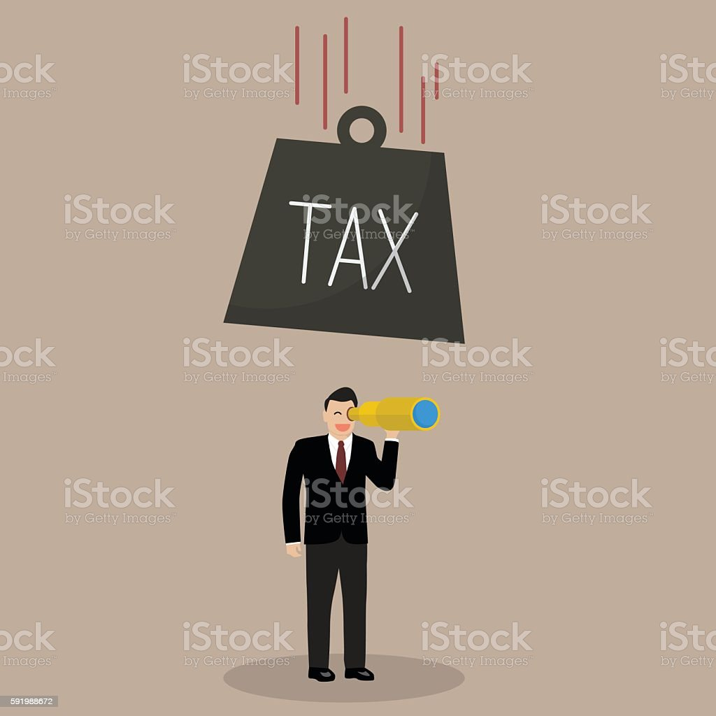 Heavy tax falling to careless businessman vector art illustration