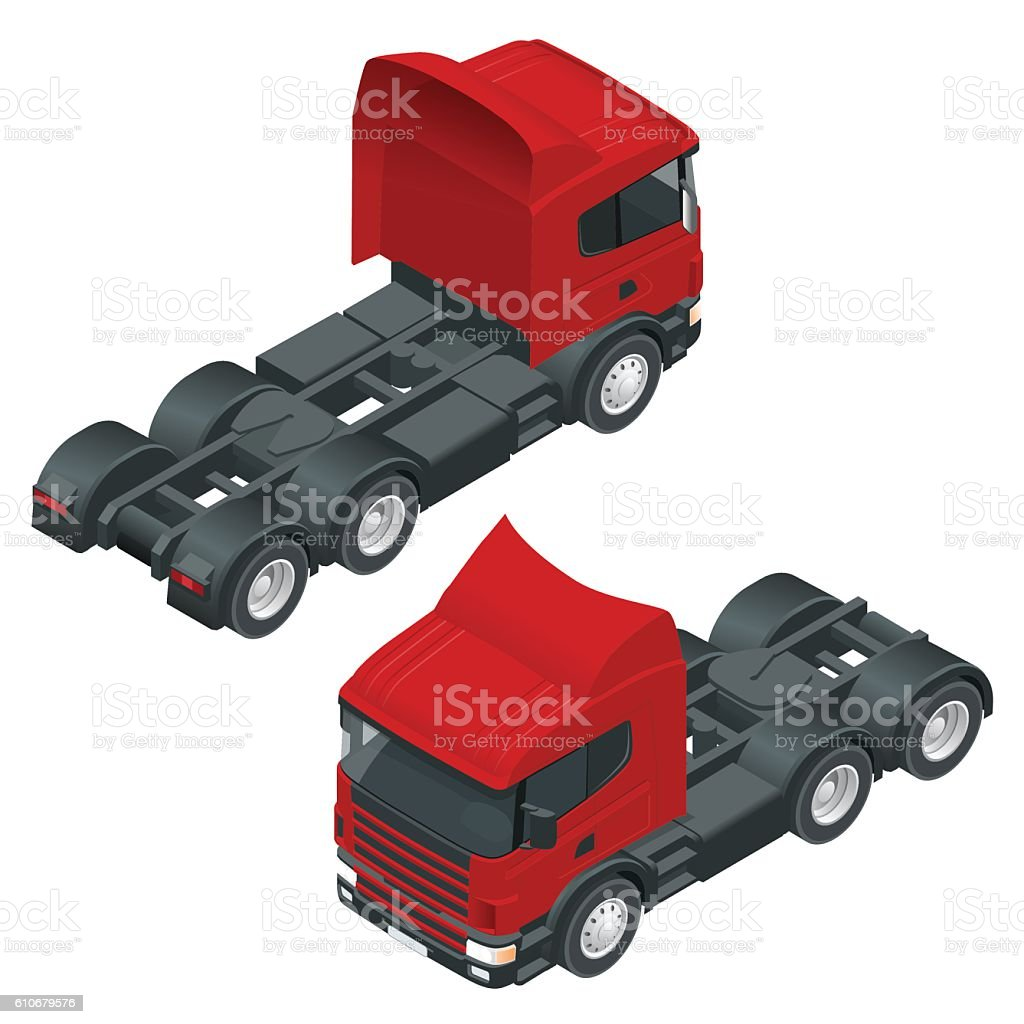 Heavy truck with the trailer. vector art illustration