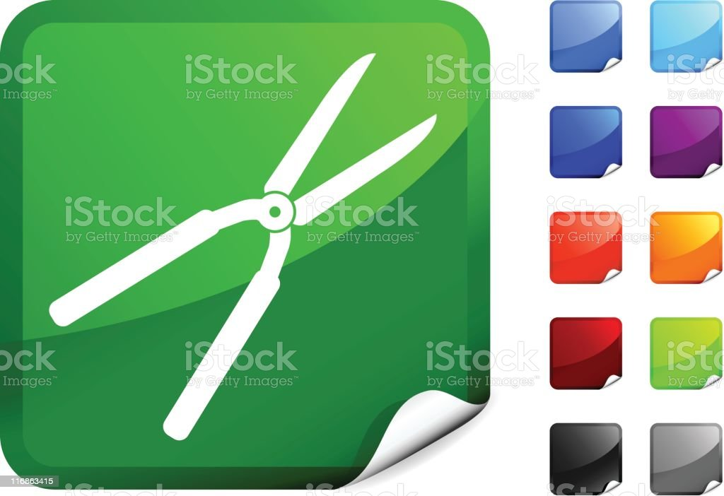 Hedge Clippers icon on Sticker royalty-free stock vector art