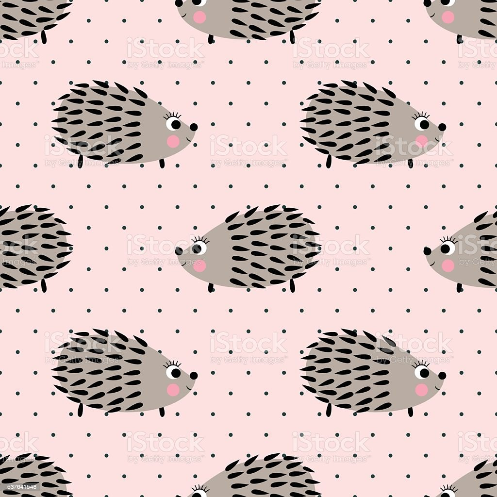 Hedgehog seamless pattern on pink polka dots background. vector art illustration