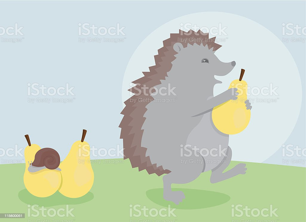 Hedgehog, snail and three pears royalty-free stock vector art