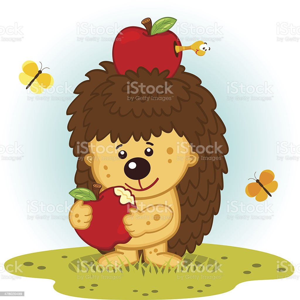 Hedgehog with apples royalty-free stock vector art