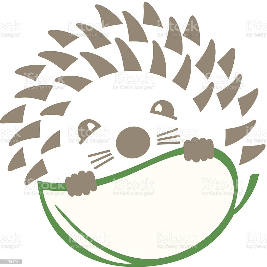 Hedgehog with leaf royalty-free stock vector art