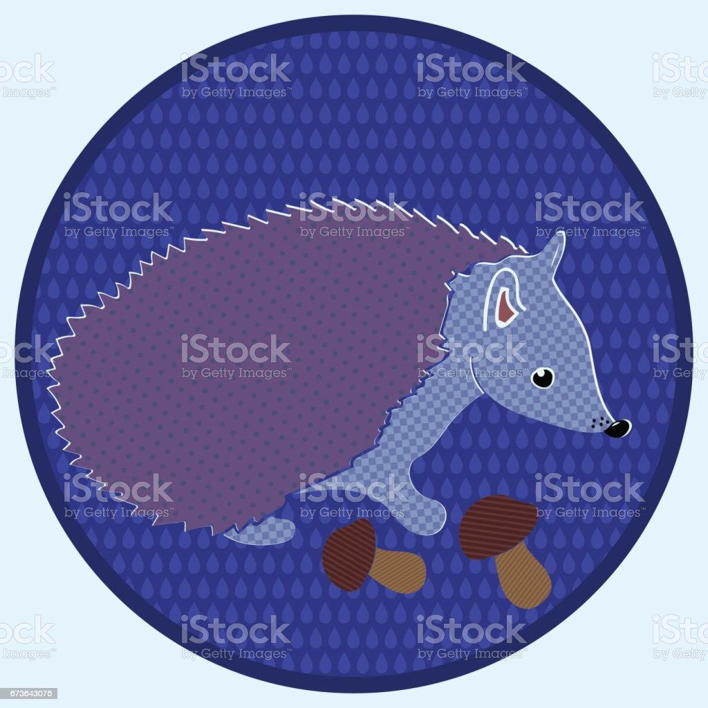 Hedgehog with mushrooms in a circle against the background of drops. vector art illustration