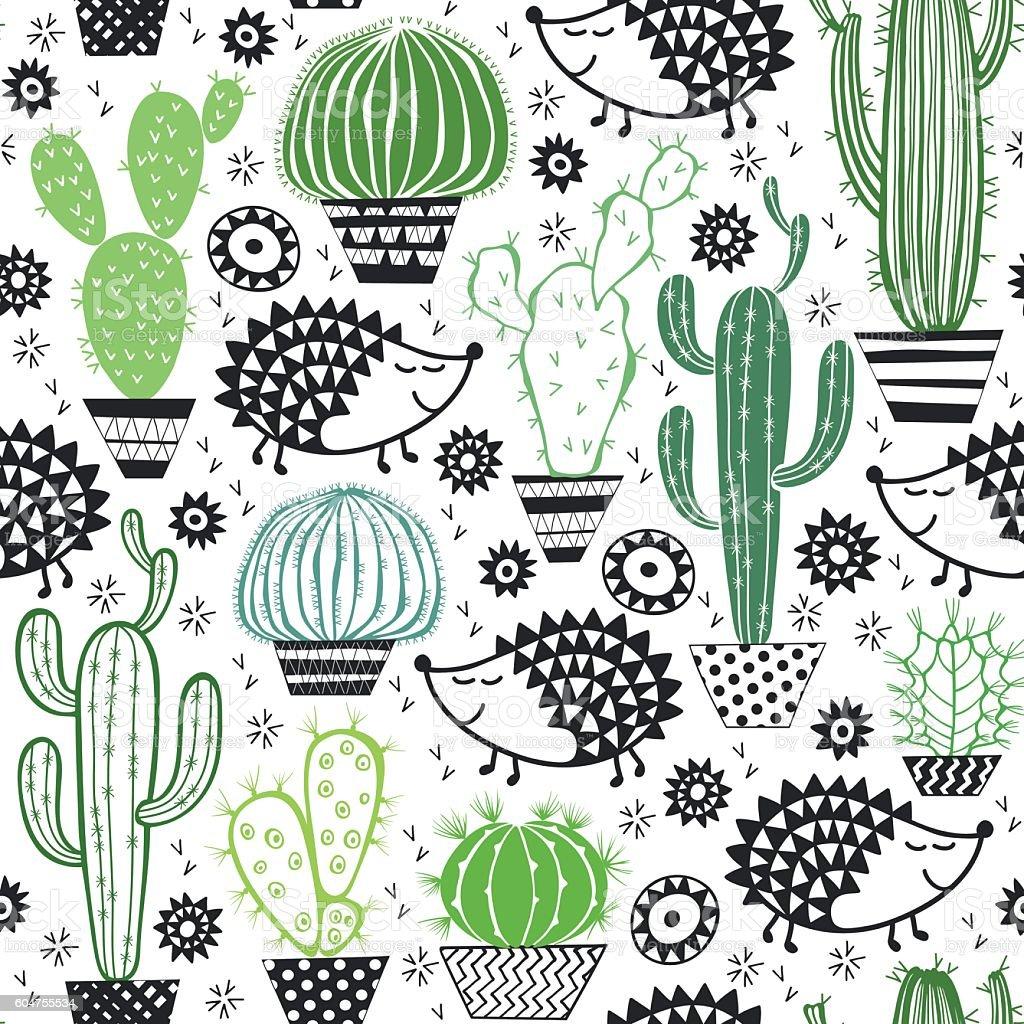 Hedgehogs & cactus. Seamless vector pattern. vector art illustration
