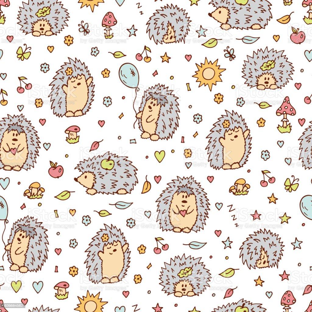 Hedgehogs seamless pattern. Wallpaper for children. vector illustration. vector art illustration