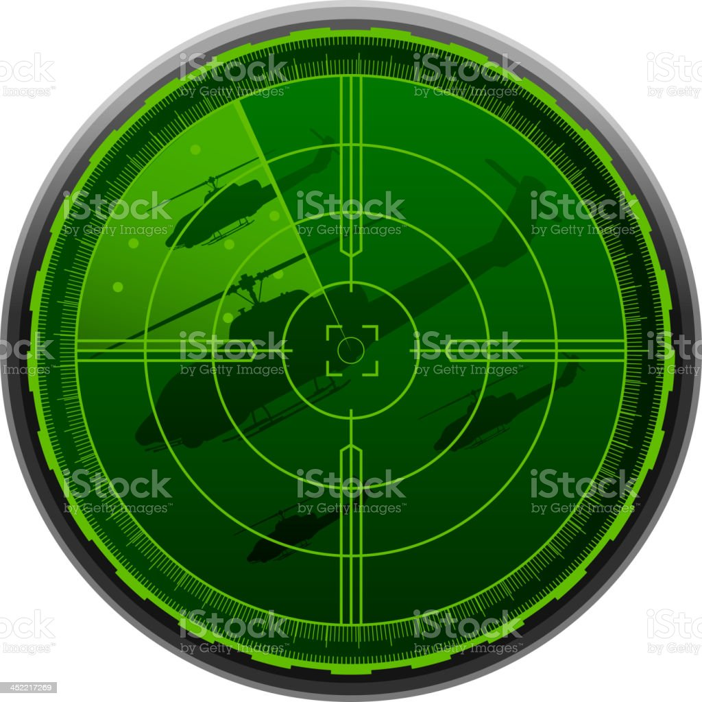Helicopter Combat Airplane Radar Screen royalty-free stock vector art