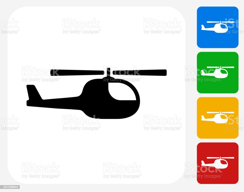 Helicopter Icon Flat Graphic Design vector art illustration