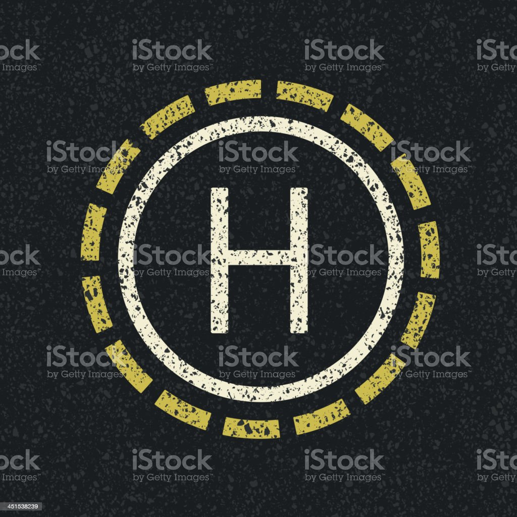 Helicopter landing pad on black pavement royalty-free stock vector art