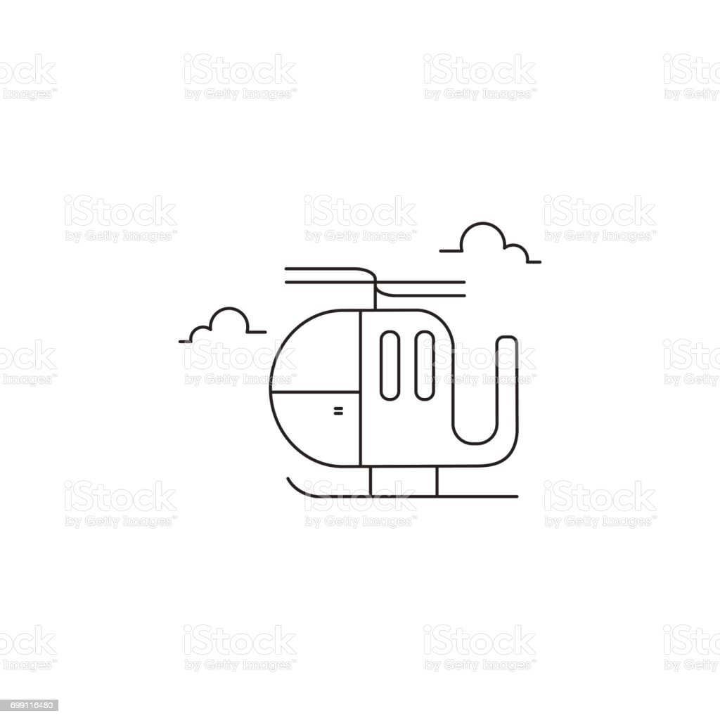 Helicopter line icon vector art illustration