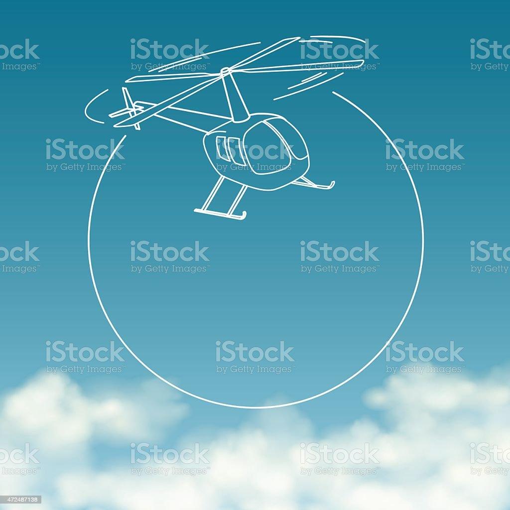 Helicóptero sobre fundo de céu nublado com espaço para texto vetor e ilustração royalty-free royalty-free