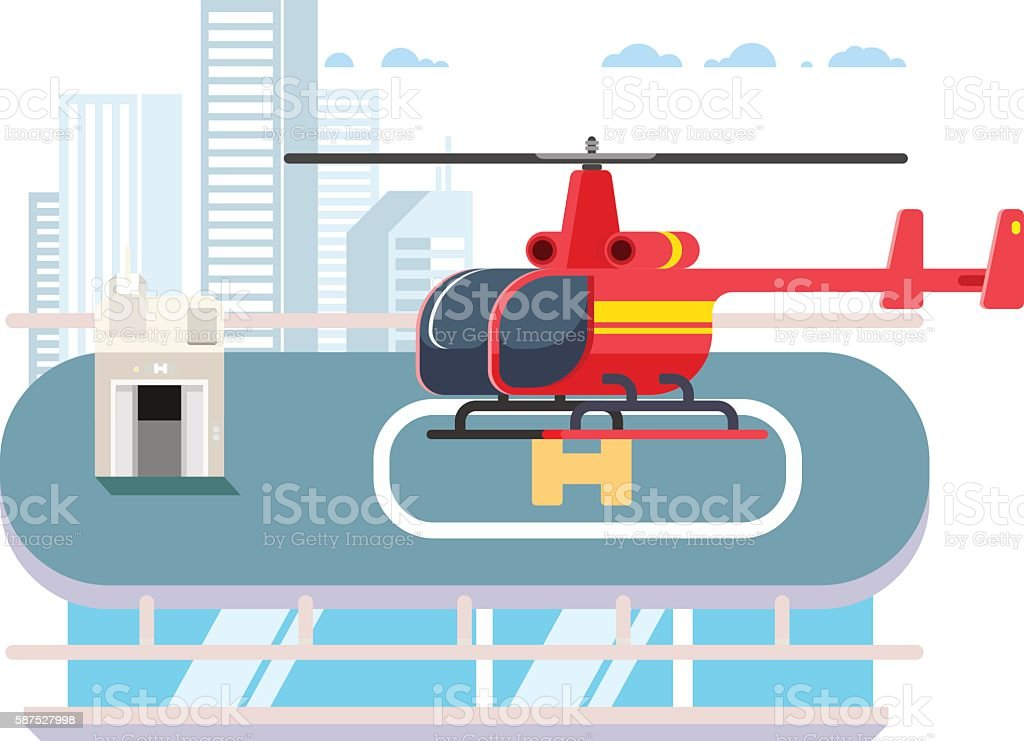 Helicopter on roof vector art illustration