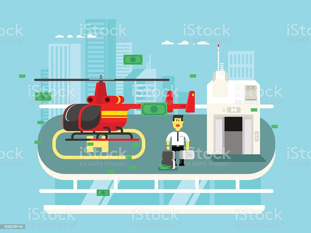 Helicopter on roof with man vector art illustration