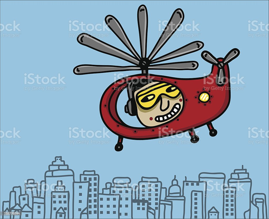 Helicopter pilot in the city royalty-free stock vector art