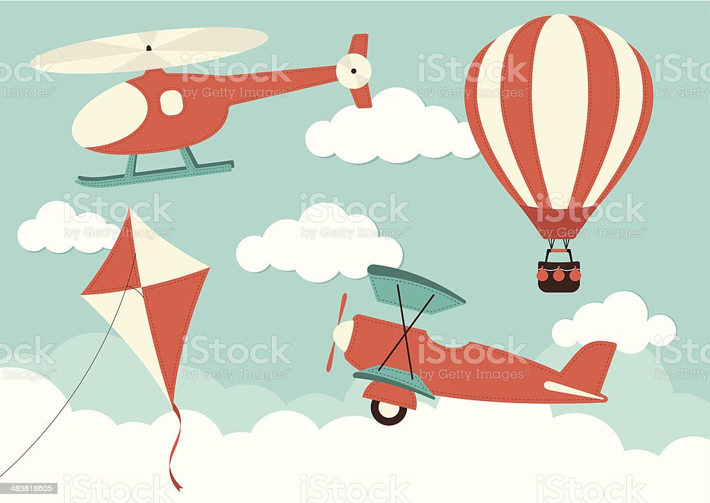 Helicopter, Plane, Kite & Hot Air Balloon vector art illustration